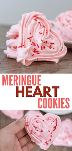 meringue heart cookies #cookies #meringues #meringuecookies #valentines #desserts #yummy #recipes
