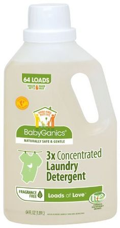 "BabyGanics Loads of Love 3X Laundry Detergent, Economy Size, Fragrance Free, 64-Fluid Ounce Bottle by BabyGanics. $18.99. Launched in 2002, BabyGanics is the brainchild of two young dads, compulsive clean freaks actually, who were shocked at the level of toxicity in ""traditional"" household cleaning products and were equally unimpressed with so-called ""green"" cleaners.Their mission: Establish the standard and authority for safe, effective, and natural ho..."