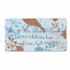 Chocolate & Blue Floral Wedding Return Labels