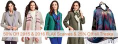 Tuesday's Deal Save 50% Off FLAX Designs 2016 & 2015 Scarves & 25% Off Treska #FLAXDesigns #FLAXScarves #Scarves #Treska #Accessories #Fashionaccessories