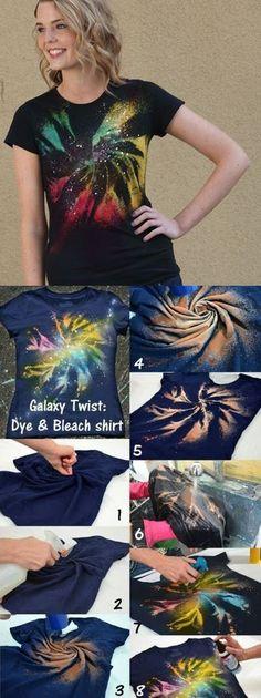 Galaxy Twist Dye Bleach Shirt DIY - cool tye dye concept Supplies can be found at www. Fête Tie Dye, Tie Dye Party, How To Tie Dye, How To Dye Fabric, Bleach Shirt Diy, Diy Tie Dye Shirts, Diy Shirt, Tye Dye Bleach, Gebleichte Shirts