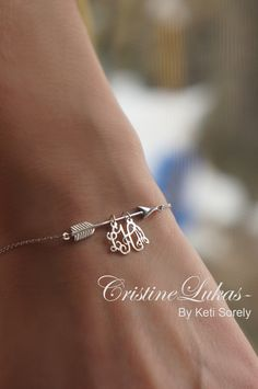 Personalized arrow bracelet with handmade monogram charm - sterling Silver or White Gold