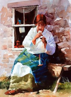 """The Drop Spindle. Carl Purcell. """"This lady was spinning yarn at an ancient village near Newtonmore, Scotland."""""""