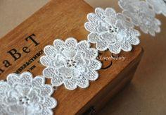 venice lace flowers | Off White Venice Lace Trim Flower Trim 1.7 Inch Wide by Lacebeauty