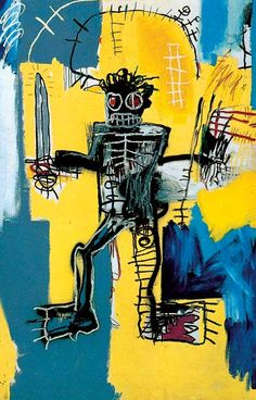 Jean-Michel Basquiat, Warrior, 1981. Acrylic and oil stick on wood panel, 72 x 48 in