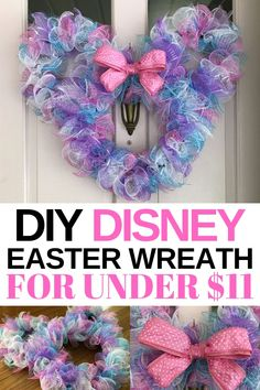 Looking for a DIY Disney Minnie Easter wreath that 's cute AND inexpensive? I've got you covered! Here's a step-by-step tutorial for the cutest Minnie Easter wreath that's a snap to make - and under $11 total. #Disney #DisneyCraft #MinnieWreath #DisneyDIY #EasterWreath #DisneyEasterWreath Disney Christmas Decorations, Mickey Christmas, Christmas Wreaths, Easter Wreaths Diy, Disney Holidays, Winter Wreaths, Prim Christmas, Spring Wreaths, Summer Wreath