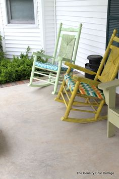 A colorful front porch transformation with a great yellow rocking chair