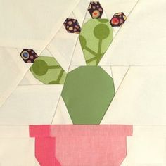 """Image of Prickly Cactis Quilt Block Pattern - 8"""" x 8"""""""
