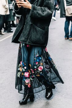 how to wear a dress over jeans: Tulle over jeans