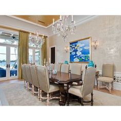 Luxury Palm Beach Mansion Selling For an Extravagant $38M ❤ liked on Polyvore featuring dining rooms, house and home