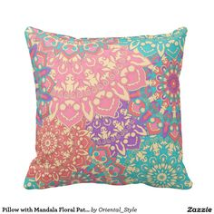 Beautiful pillow with colorful mandala pattern for home decor. Unique accessories for your bedroom. Elegant design.
