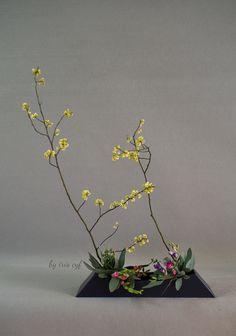 ikebana, japanese style, tall, yellow, spring