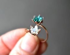 Unique Opal Ring Lotus Flower Ring in Rose Gold Uncut Opal Engagement Ring Raw Rough Fire Opal Jewelry for Women October Birthstone Unique Opal Ring Lotus Flower Ring in. Tiffany Jewelry, Opal Jewelry, Fine Jewelry, Women Jewelry, Silver Jewelry, Lotus Jewelry, Flower Jewelry, Jewellery, Crystal Jewelry