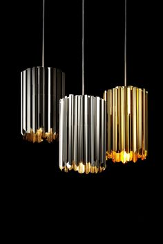 Facet Pendant - polished steel, gold, nickel | lighting . Beleuchtung . luminaires | Design: Tom Kirk |