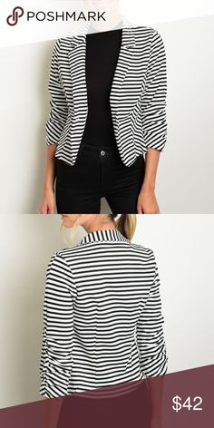 "Striped Black and White Blazer 3/4 sleeve striped black and white blazer. Style it with your favorite jeans or pants!  Measurements for small: L: 23"" B: 36"" W: 32"" Made of Poly/spandex blend. NO TRADES Bchic Jackets & Coats Blazers"
