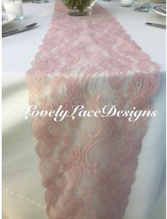 Dusty Rose/Mauve/ Lace Table Runner/3ft-10ft by LovelyLaceDesigns