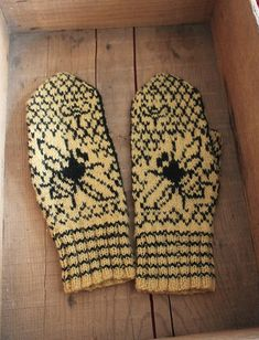 Mitten with bee - - I made a pattern with bees, beehive and honeycombs. In Dalslands ,Sweden we have lot of beekeeper. Fair Isle Knitting, Arm Knitting, Knitting Charts, Knitting Patterns, Hat Patterns, Stitch Patterns, Knitted Mittens Pattern, Socks, Tricot