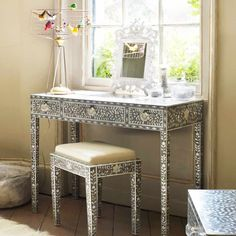 Maxi Mother of Pearl Console Table in Grey - Console Tables & Desks - Furniture