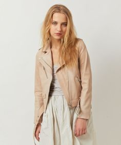 Light colored jacket for spring: DRWCYS ★『Gina』2月号掲載アイテム★レザーステッチワーク ライダースジャケット - shopstyle.co.jp