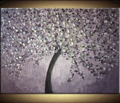 SALE Large Oil Impasto Painting Original Custom Abstract Texture Modern Purple Silver Gray Floral Tree Sculpture Knife Painting by Je Hlobik