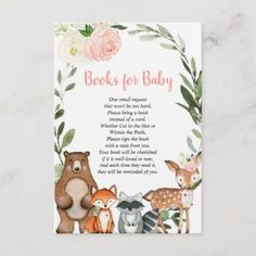Shop Woodland blush pink book request girl baby shower enclosure card created by StyleswithCharm. Christening Invitations Boy, Baby Boy Christening, Baby Shower Invitations, Baby Deco, Pregnancy Announcement Cards, Bloom Baby, Shower Enclosure, Animal Cards, Blue Christmas