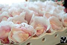 from Party Frosting - roll paper doilies into cones and fill with snacks