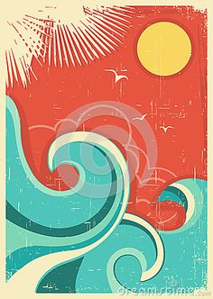 Vintage tropical background with sea waves and sun by Geraktv, via Dreamstime
