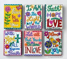 Scripture paintings on 5x7 gallery canvas in acrylic and mixed media. Artist: Angela Sharkey