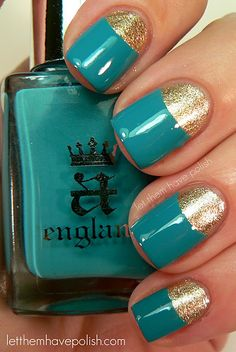 Half Moon Nails> Bettina's ~ Celebrate (2 coats gold moon) + A England's ~ Galahad (teal)