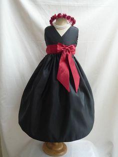 Flower Girl Dress BLACK w/ Red Apple VN for Baby Teen Children Toddler in Wedding Easter Bridesmaid Communion