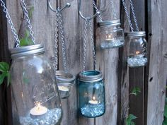 Hand Made Mason jar Tea Light or Votive Lid -  With Chain for Hanging - Fits All Standard Mason Jars. $3.25, via Etsy.