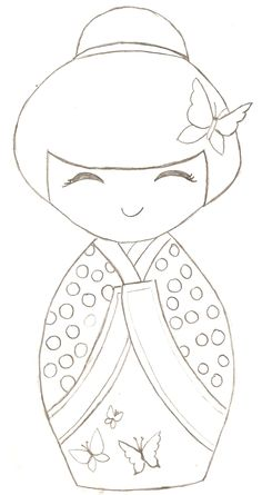 kokeshi colouring page by maxine