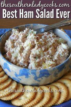 I started making ham salad. I love this recipe. It is great on crackers or bread. A great way to use up leftover ham. Ham Salad - Ham - Ideas of Ham Meat Salad, Soup And Salad, Pasta Salad, Tortellini Salad, Fish Salad, Couscous Salad, Shrimp Salad, Chickpea Salad, Shrimp Pasta