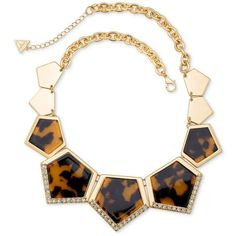 Guess Gold-Tone Faux Tortoiseshell Inlay Geometric Statement Necklace ($35) ❤ liked on Polyvore featuring jewelry, necklaces, gold, geometric necklace, tortoise statement necklace, tortoise shell jewelry, geometric jewelry and artificial jewellery