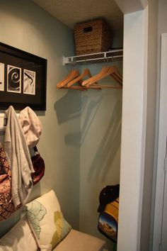 I'm thinking about using our wall coat rack & adding baskets on floor for soccer items, water stuff, etc. What to do on the sides of our very deep hall closet when I convert it to a mudroom. Closet Redo, Front Closet, Hallway Closet, Master Bedroom Closet, Closet Space, Closet Mudroom, Closet Ideas, Closet Bench, Closet Doors