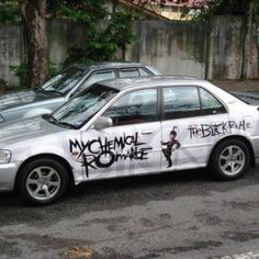 That is the most awesome car I have EVER seen in my entire life. Emo Bands, Music Bands, My Chemical Romance, Andy Black, Black Parade, Gerard Way, Studded Belt, Black Veil, It Goes On