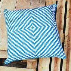 Blue ZigZag Cushion Cover $60