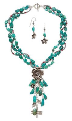 """""""Voyages of Odysseus"""" jewelry set uses turquoise gemstone beads, coral beads and Hill Tribes fine silver components to tell the  nautical tale. - Fire Mountain Gems and Beads"""