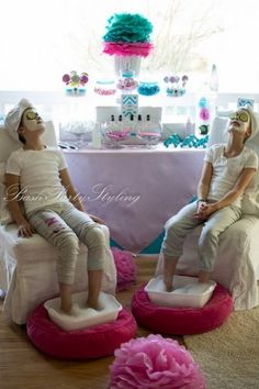 Bash Party Styling *'s Birthday / Spa Party - Photo Gallery at Catch My Party Spa Day Party, Kids Spa Party, Party Set, Spa Birthday Parties, Slumber Parties, Girl Parties, Bachelorette Parties, Birthday Ideas, Birthday Images