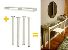 DIY vanity from Ikea Hack - This would be nice and could fit in my bathroom or bedroom