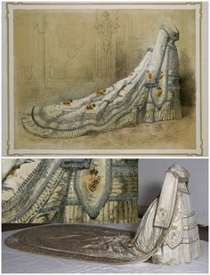 Lithograph of Queen Sofia's Norwegian coronation dress,  1873, by Johan Fredrik Meyer (tailor: Albert Valentin & Co Stockholm), collection of the Royal Armory, Stockholm. The actual dress is in the collection of the Norwegian Folk Museum (photo: Reinsfelt, Anne-Lise, via DigitaltMuseum). CLICK FOR LARGER IMAGES.
