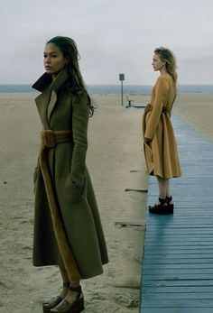 """sand-snake-kate:  """"Playing It Cool"""" Joan Smalls and Sasha Pivovarova by Annie Leibovitz for US Vogue September 2014"""
