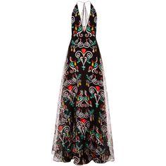 Honor Black Fleur De Lis Organza Plunge Neck Gown (63 600 ZAR) ❤ liked on Polyvore featuring dresses, gowns, black halter top, plunging v neck dress, black evening dresses, plunging neckline dress e halter top