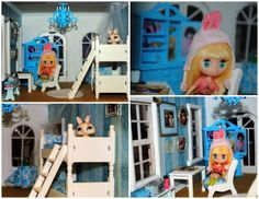 Blythe Dollhouse Blue Bunk Bed Room. www.poppieswoodshopdesigns.com