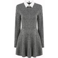 Contrast Collar Pleated Dress ($17) ❤ liked on Polyvore featuring dresses, grey, tweed dress, zipper dress, flare dress, long sleeve pleated dress and short dresses