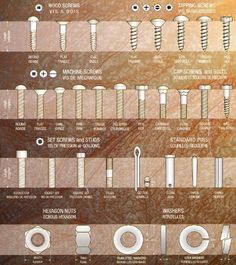 Bolt Identification Guide - First Call Auto Supply Screws And Bolts, Wood Screws, Tool Organization, Tool Storage, Cool Tools, Diy Tools, Hand Tools, Woodworking Projects, Diy Projects