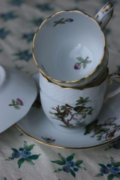 Herend Rothschild Bird demi-tasses cups & saucers