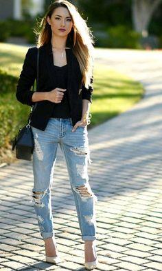Look: Blazer + Boyfriend Jeans