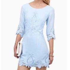 Tobi pale blue embroidered dress Beautiful light blue Tobi brand dress. It says it is a medium but is very short so it can definitely fit a size small. It is a reposh. The previous owner said it was only worn once, it is in excellent condition. I sadly haven't been able to wear it because it is too short for me. Tobi Dresses Mini