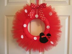 Minnie Mouse Tutu Wreath 1st Birthday Decor Girls Room Decor Door Decoration Minnie Mouse PartyRed  by American Blossoms. $32.00, via Etsy.
